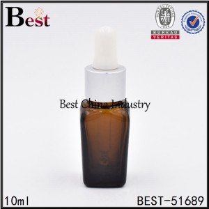 square glass bottle with silver aluminum dropper for cosmetic essence 10ml 50ml