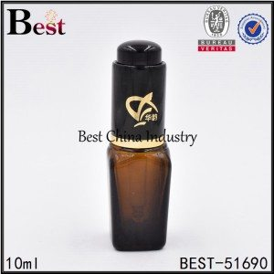 cosmetic square glass bottle with press dropper cap 10ml 25ml 50ml