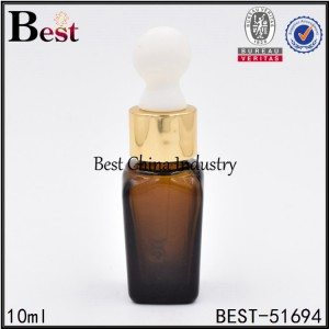 cosmetic square shape glass bottle with dropper cap for essential 10ml
