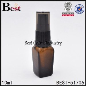 square amber glass bottle with black plastic sprayer cap 10ml