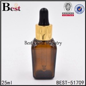 cosmetic square amber glass dropper bottle for essence 25ml