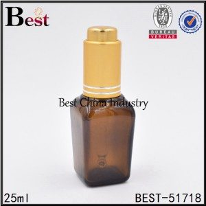 amber color square glass bottle with press pump dropper 25 ml