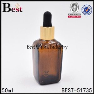 cosmetic square glass dropper bottle for sell 50ml