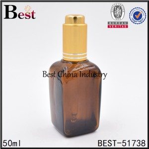 amber color square glass bottle with press pump dropper top 50ml