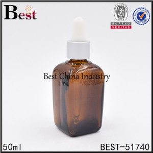 amber color square shape cosmetic glass bottle with aluminum dropper top 50ml