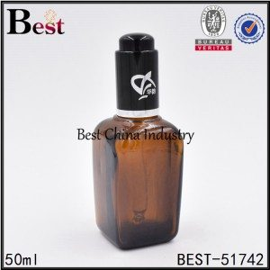 empty cosmetic essential oil glass bottle with black press pump 50ml