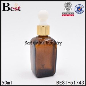 special square glass bottle amber color with dropper top for cosmetic