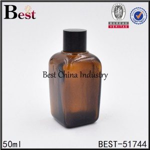 empty cosmetic square glass bottle with black screw lid for essence