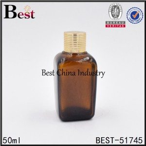 brown amber color square glass bottle with gold aluminum screw on lid 50ml