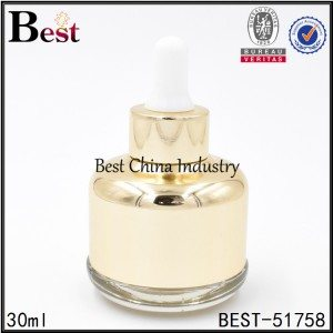 gold color cosmetic glass dropper bottle for serum 30ml 1oz