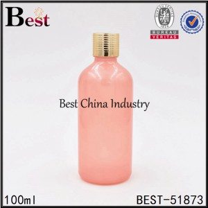 pink color glass essential oil bottle with gold aluminum cap 100ml