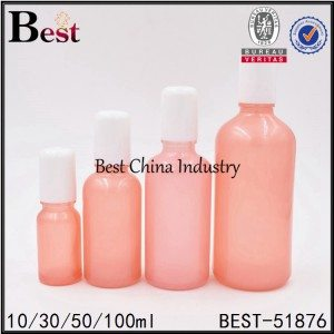 pink color cosmetic glass bottle with roller 10ml 30ml 50ml 100ml