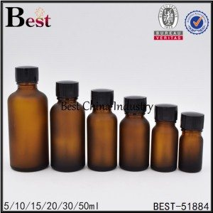 frosted amber brown glass bottle with brush cap 5ml 10ml 15ml 20ml 30ml 50ml