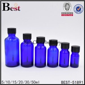 blue glass bottle with black brush cap 5ml 10ml 15ml 20ml 30ml 50ml