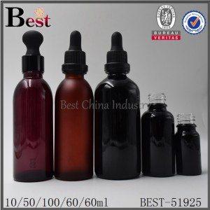 frosted black amber red color glass essential oil bottle 10ml 50ml 60ml 100ml