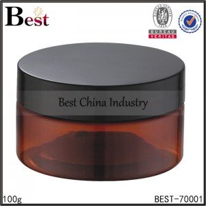 brown amber color cosmetic jar with black cap 100g