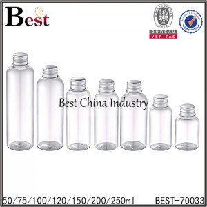 clear PET platsic bottle with reducer and silver aluminum lid 50ml 75ml 100ml 120ml 150ml 200ml 250ml