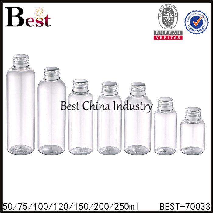 clear PET platsic bottle with reducer and silver aluminum lid 50ml 75ml 100ml 120ml 150ml 200ml 250ml