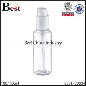 round clear PET bottle with white plastic serum 100/150ml
