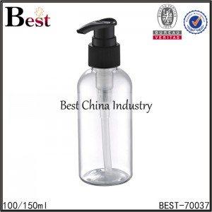 clear PET bottle with black plastic lotion pump 100/150ml
