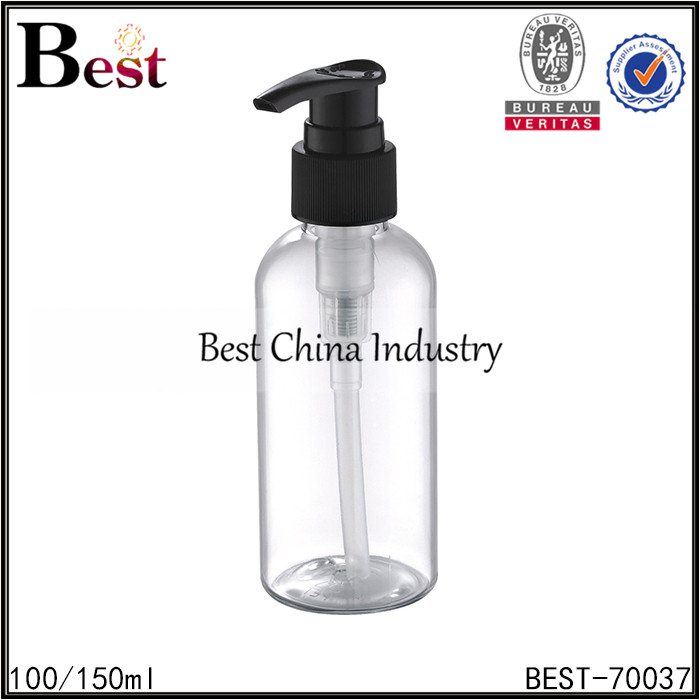 clear PET bottle with black plastic lotion pump 100/150ml