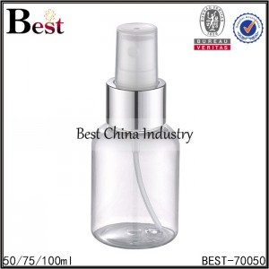 clear round PET bottle with silver aluminum sprayer 50/75/100ml