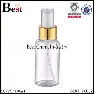 clear PET round bottle with gold aluminum sprayer 50/75/100ml
