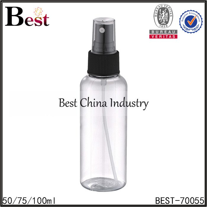clear PET bottle with white/black plastic sprayer 50/75/100ml