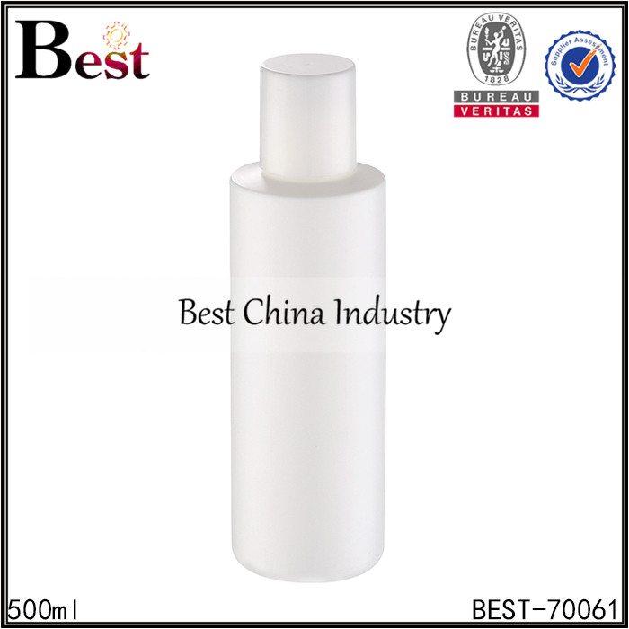 white PET plastic round bottle with screw cap 500ml