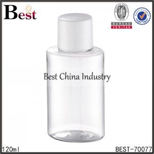 clear round cleansing oil PET plastic bottle with screw cap 120ml