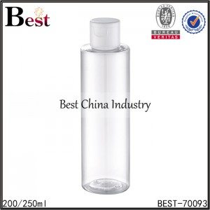 clear round cosmetic PET bottle with flip top cap 200/250ml