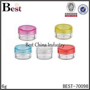 clear lip balm PET jar with colorful cap 6g