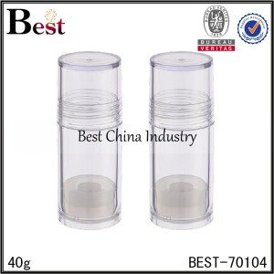 clear PS plastic lip balm tube 40g