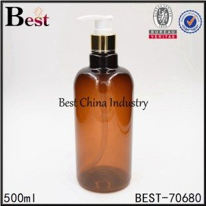 amber PET plastic bottle with gold aluminum shampoo pump 500ml