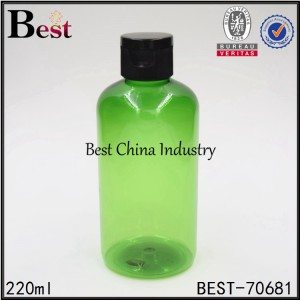 green PET plastic bottle with black plastic flip top cap 220ml