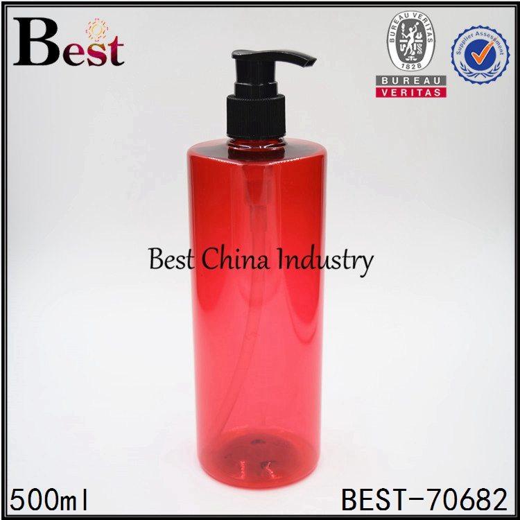 red color PET plastic shampoo bottle with plastic pump 500ml
