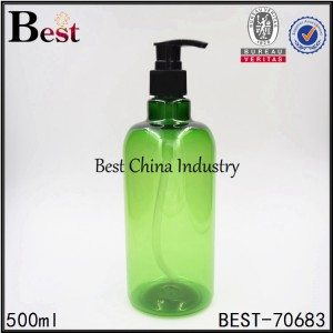 green color PET shampoo bottle with pump 500ml