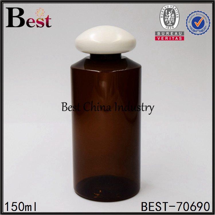 amber PET plastic bottle with mushroom cap 100ml