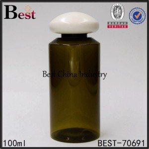 dark green PET plastic bottle with mushroom screw cap 100ml