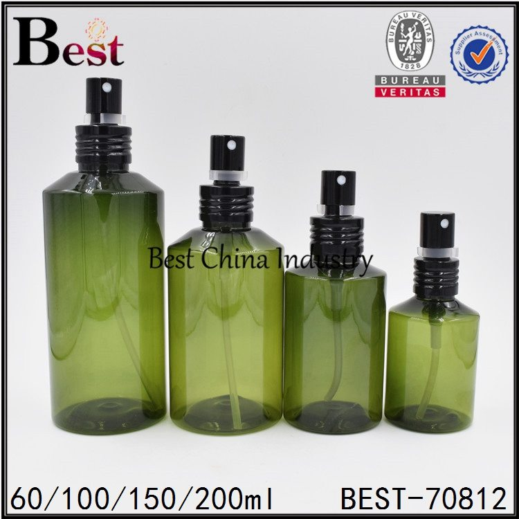 cosmetic green color PET plastic bottle with fine mist 60/100/150/200ml