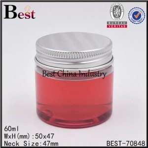 transparent PET plastic jar with aluminum screw cap 60ml