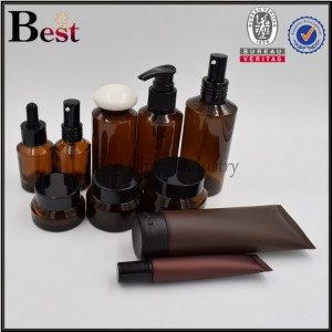 cosmetic amber PET plastic bottle plastic tube and amber glass jar whole set