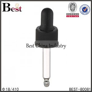black plastic dropper cap for essential oil 18/410