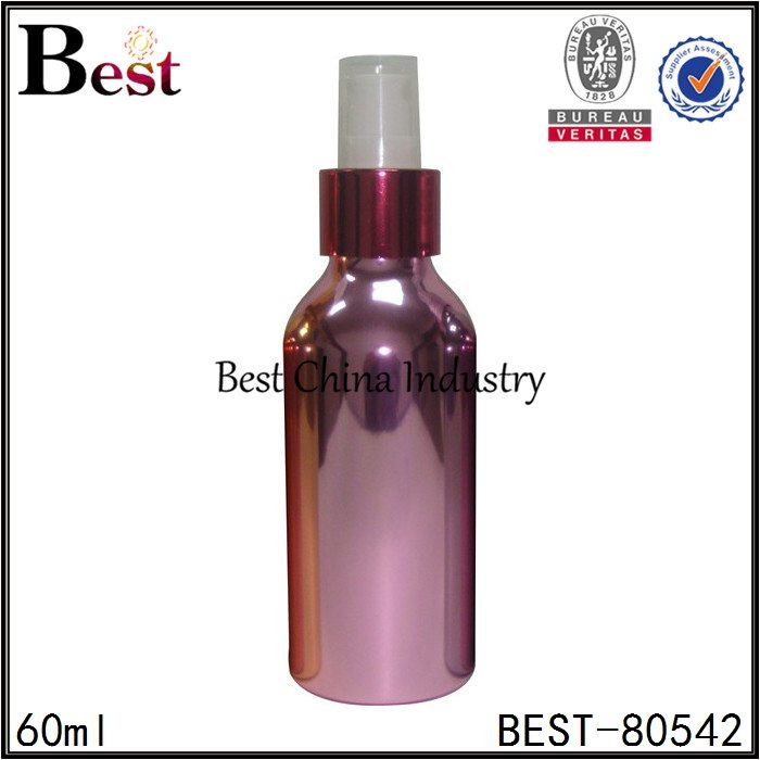 cosmetic shiny purple aluminum bottle with sprayer 60ml