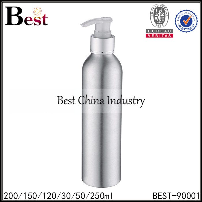 silver aluminum bottle with lotion pump 30/50/120/150/200/250ml