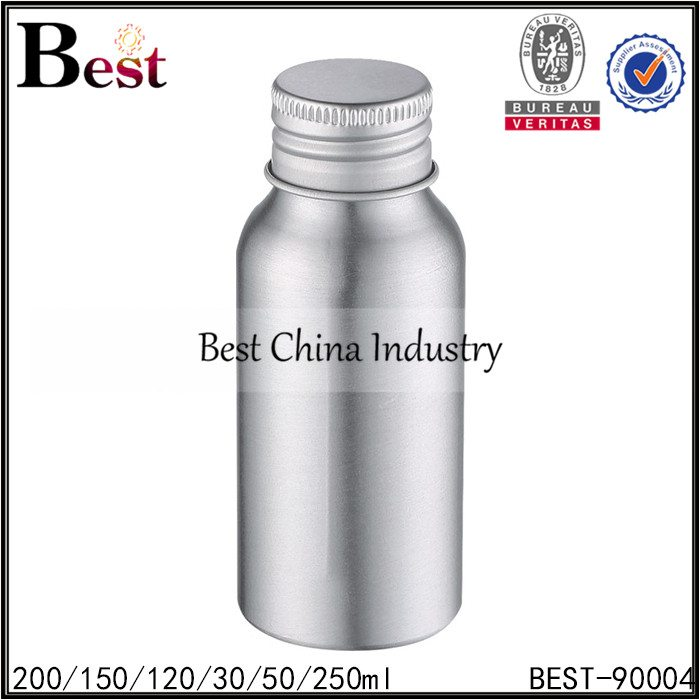 silver cosmetic or drinking aluminum bottle with screw cap 30/50/120/150/200/250ml