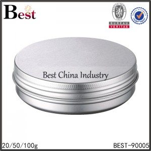 silver aluminum jar with screw cap for face cream 20/50/100g