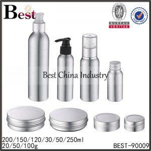 silver aluminum pump bottle, aluminum jar with screw cap 30/50/120/150/200/250ml