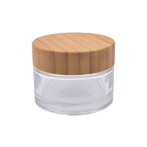30ml clear cosmetic glass jar with bamboo lid