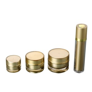 gold acrylic cosmetic container jar and bottle